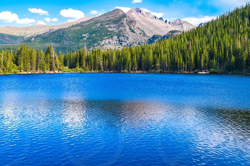 Rocky Mountain national park national park of USA Colorado Boulder City Colorado diaries bear lake lake pine trees blue lake mountains nature landscape national park scenic serene  photo