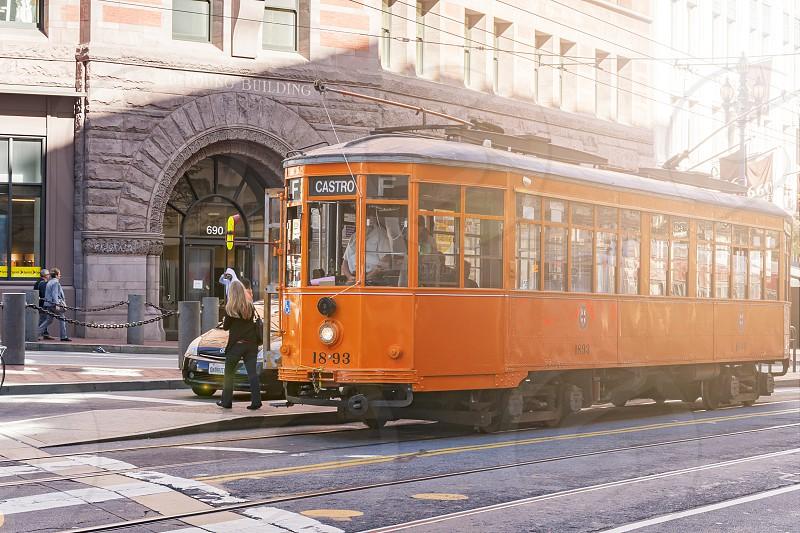 San Francisco California USA October 2016: historic Milanese tram at the Market Street stop in San Francisco California USA photo