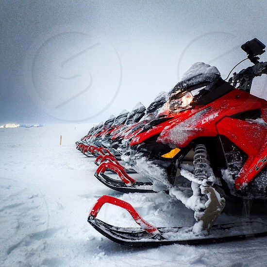 red snow mobile photo