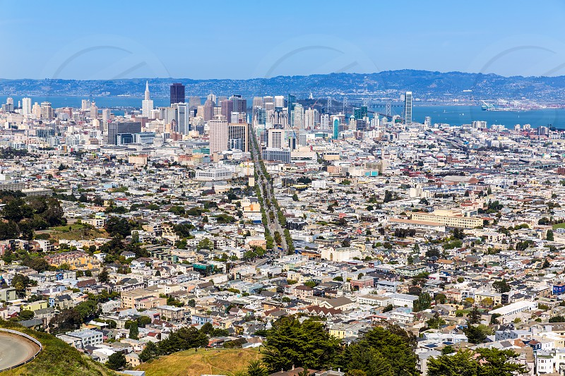 San Francisco skyline from Twin Peaks in California USA high angle view photo