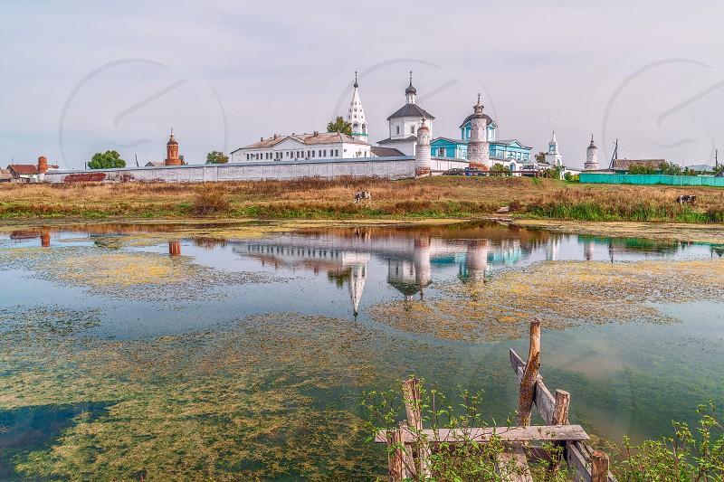 View and reflection of Nativity of the Virgin Bobrenev monastery. Kolomna. Moscow region. Russia photo