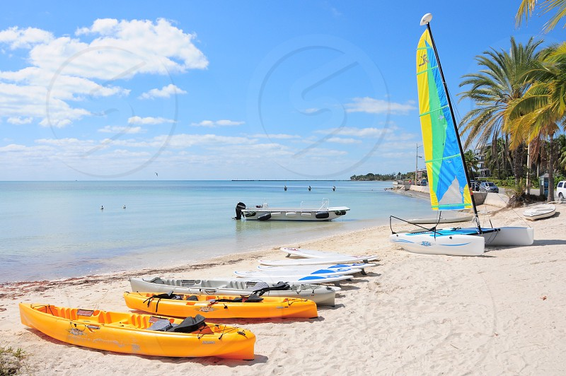 2 yellow kayaks near gray kayak and 3 white surfboards on white sand beach shore under blue and white sunny cloudy sky photo