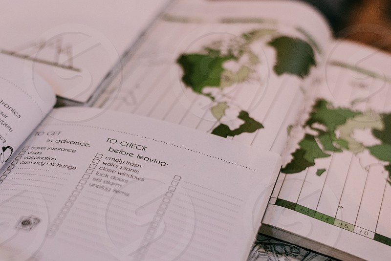 Journal for travelers. To-do list before leaving your accommodation.  photo