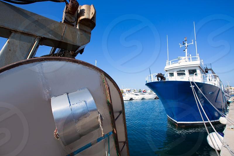 Formentera marina trawler fishing boats in Balearic Islands photo