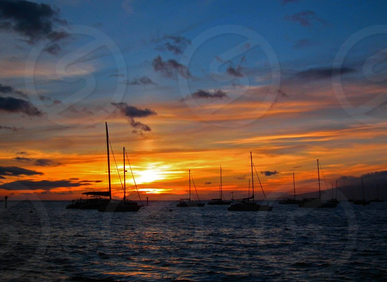 sailboats on blue ocean water under orange sunset photo