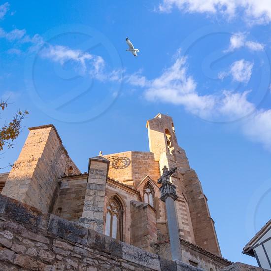 Morella in Maestrazgo castellon church details at Spain photo
