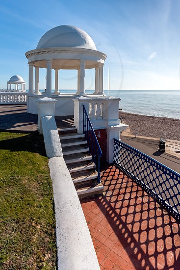 Colonnades in grounds of De La Warr Pavilion in Bexhill-On-Sea photo