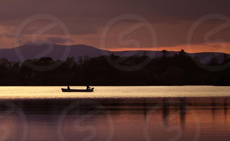 Reflection lake water sunset nature landscape Ireland Killarney boat photo