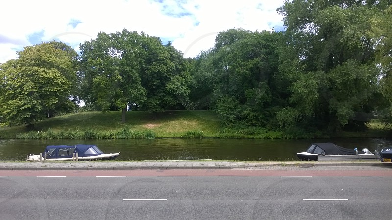 Holland Netherlands Alkmaar Canal River Boats Park Trees Street photo