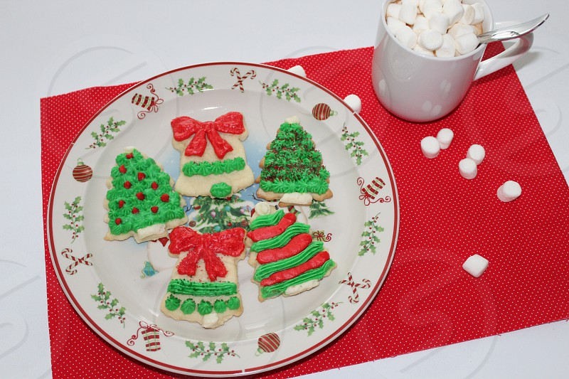 Christmas cookies and hot chocolate photo