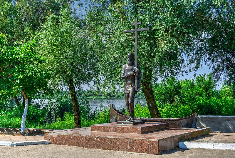 Vilkovo Ukraine - 06.23.2019. Monument to Livovan the first resident of the village of Vilkovo Ukraine. photo