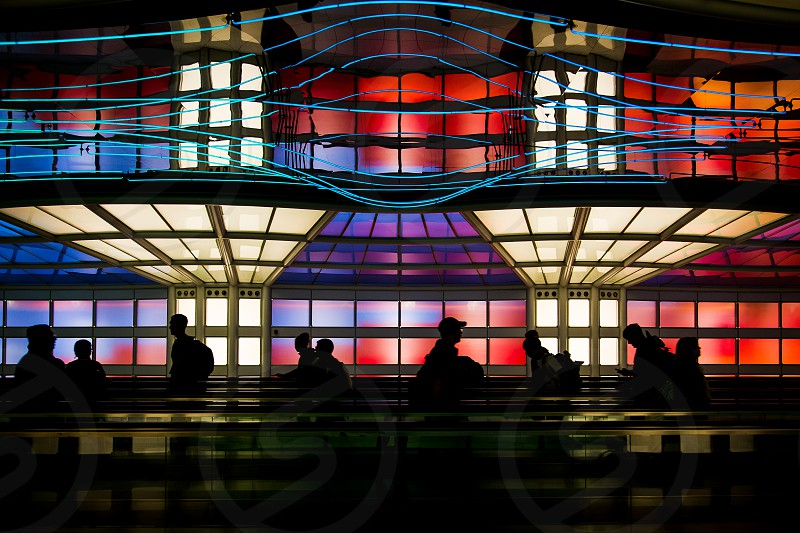 airport silhouette color colorful people travelers photo