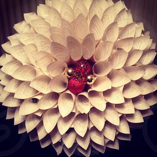 Holiday book wreath I made.  photo