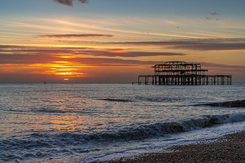 BRIGHTON EAST SUSSEX/UK - JANUARY 8 : View of the West Pier in Brighton East Sussex on January 8 2019 photo