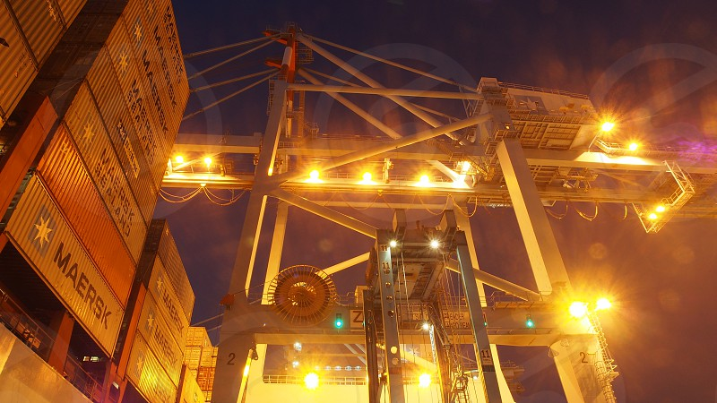 Container terminal by night Maersk Containers Terminal Shipping photo