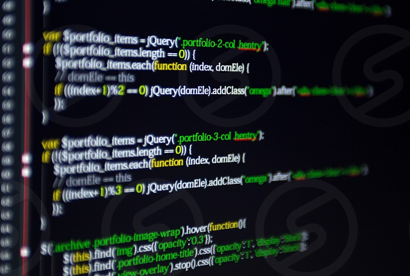 Computer screen of javascript code photo