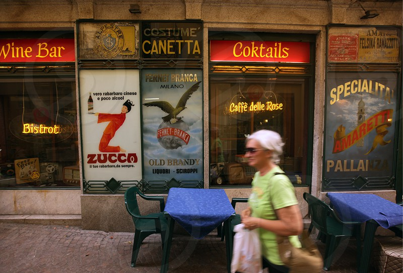 a Bar in the old town of Pallanza near to Verbania on the Lago maggiore in the Lombardia  in north Italy.  photo