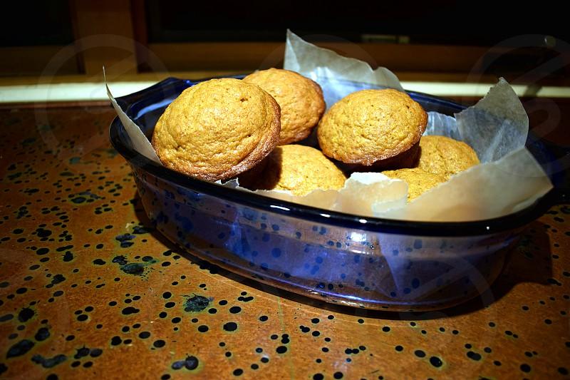 Fresh baked pumpkin banana muffins. photo