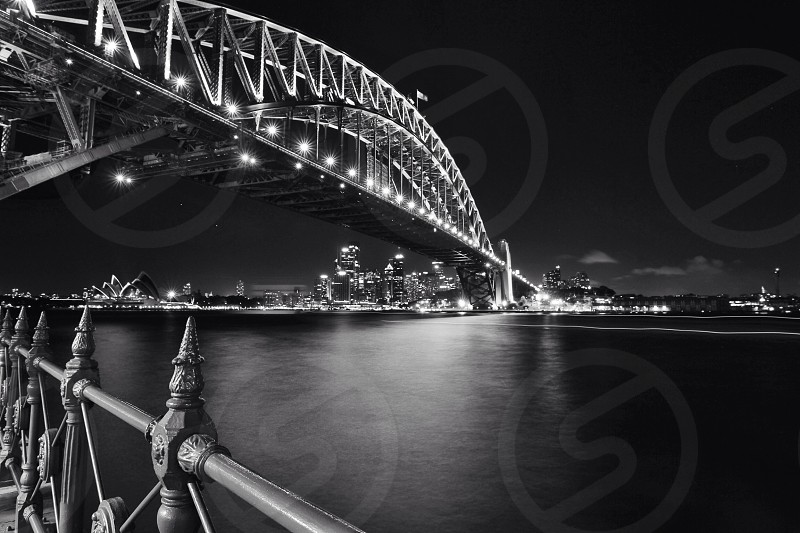 Sydney Harbour Bridge night blackandwhite photo