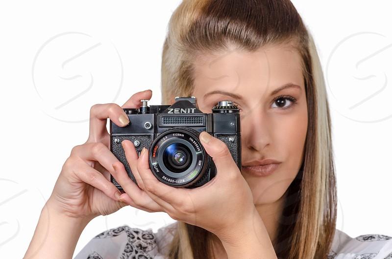 Camera girl background white photo