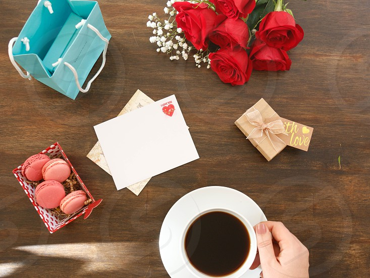 Valentines letter hearts roses red romantic gift present coffee macaroons photo