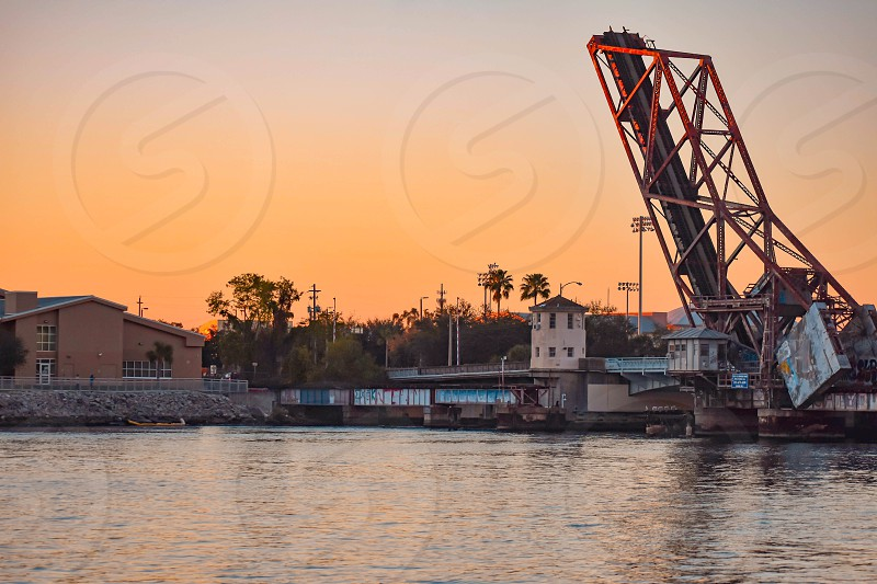 Tampa Bay Florida. January 05 2019 . Drawbridgre  in W Cass street on beautiful sunset background in downtown area (1) photo