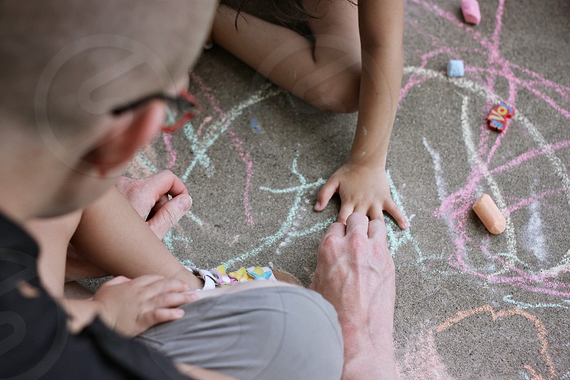 hands chalk play draw trace father child photo