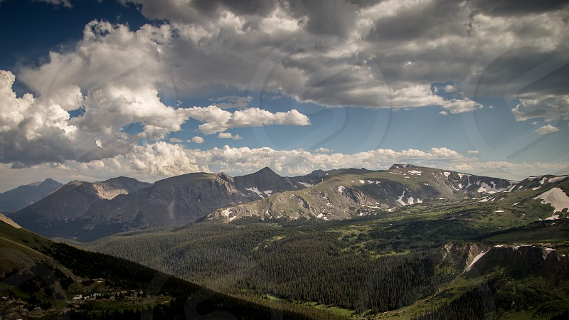 Clouds landscapes Colorado mountains forest trees photo