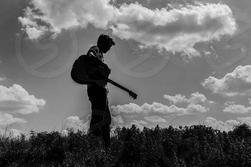 A boy and his guitar in Southlake Texas photo