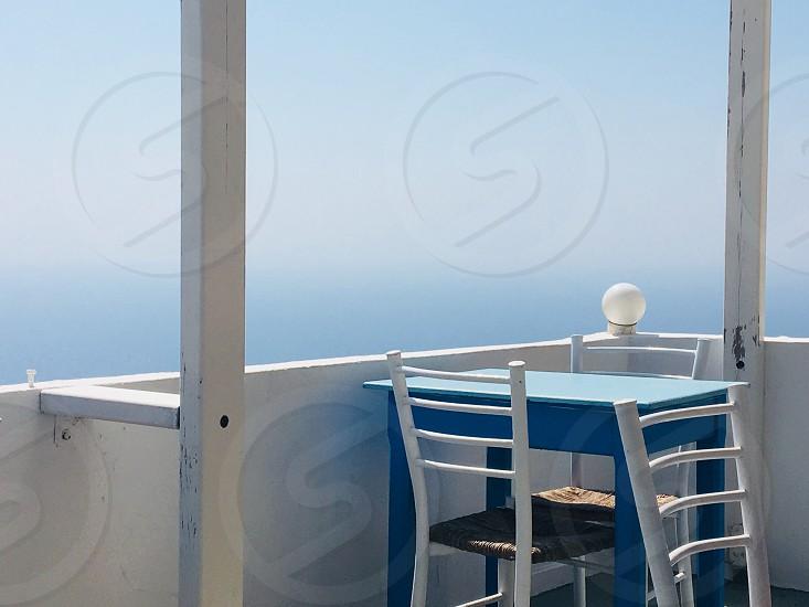 Greece terrace sea chair photo