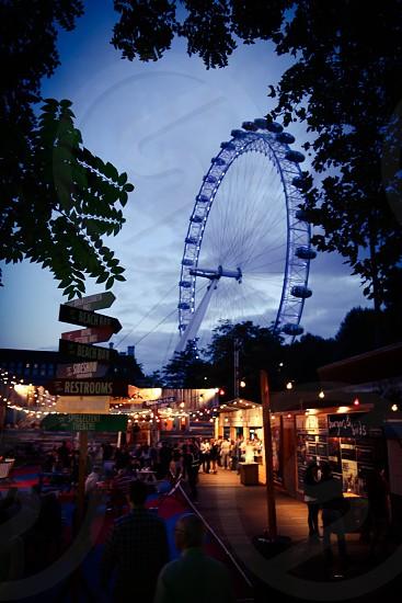 London night nightlife south bank  England  joy fun London eye nighttime park bars bar sky  people  photo