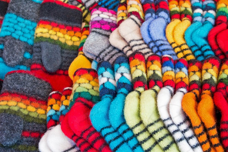 blue white yellow red and gray socks set photo