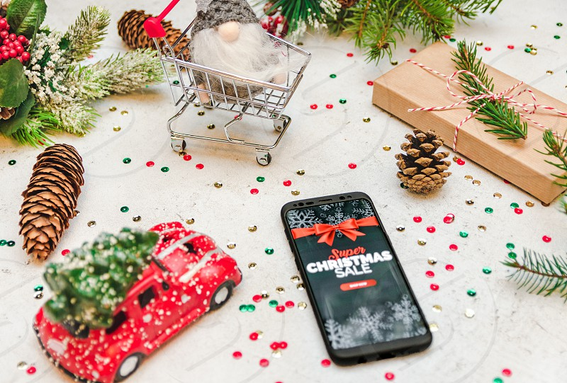 Christmas Sale Decorations Mobile Phone Online Shopping Shopping Cart Christmas Gift Christmas Present Buying Presents By Marko Klaric Photo Stock Snapwire