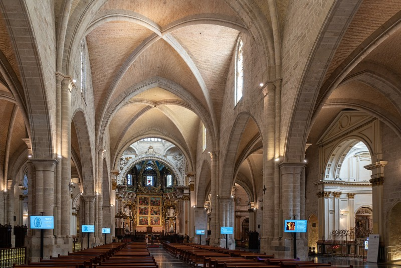 VALENCIA SPAIN - FEBRUARY 27 :  Interior view of the Cathedral in Valencia Spain on February 27 2019. Unidentified people photo