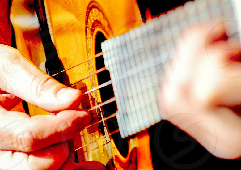 Playing guitar man playing guitar isolated guitar lessons photo