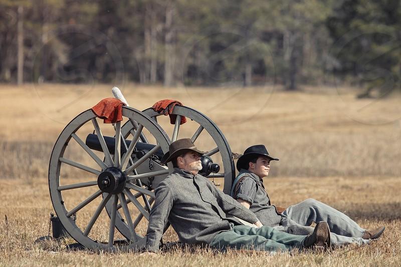 Civil war civil cannonball cannon war soldiers reenactment  photo