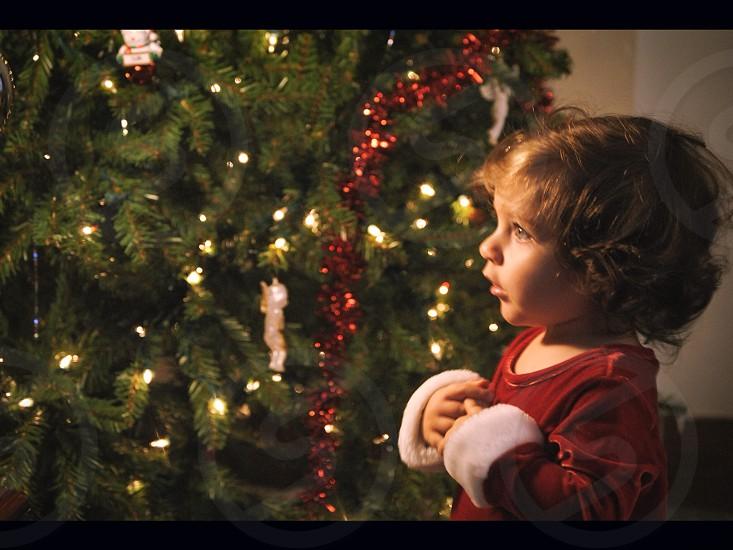 girl in red long sleeved shirt near green christmas tree photo