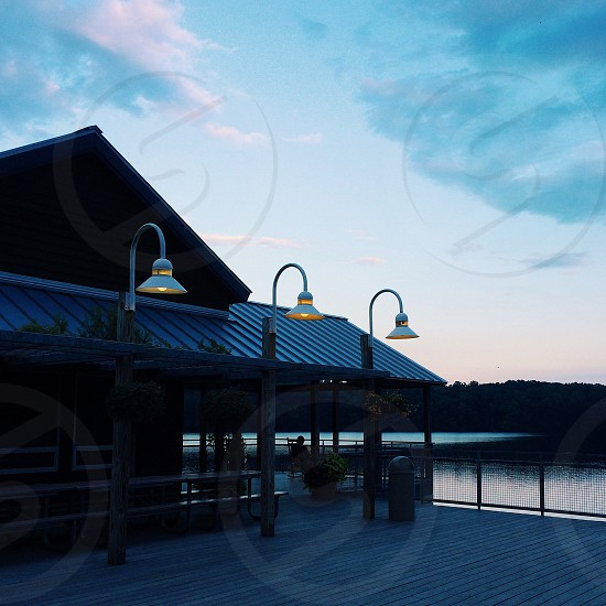 Lake Johnson community deck at dusk Raleigh NC photo