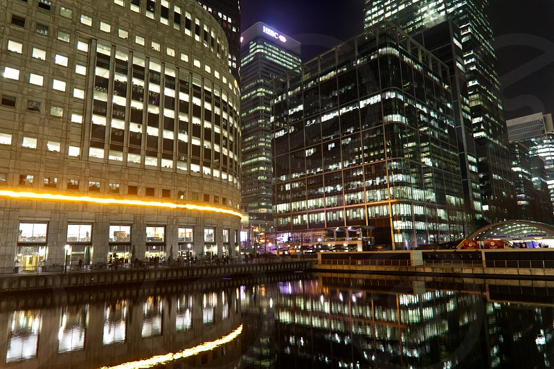Canary Wharf at in night in London UK  photo