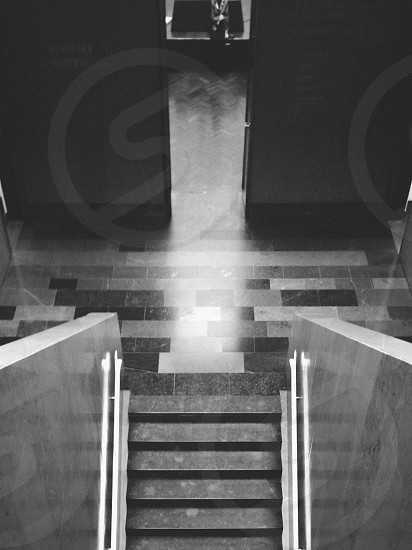 stairs in grey scale photo photo