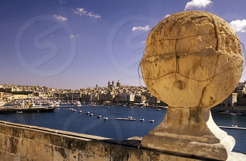 The centre of the Old Town of the city of Valletta on the Island of Malta in the Mediterranean Sea in Europe.