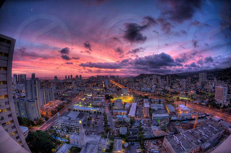 Honolulu city dusk Hawaii sunset photo