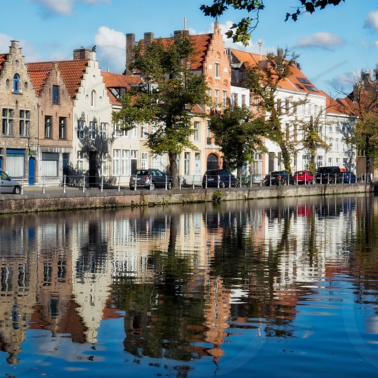 View along a Canal in Bruges photo
