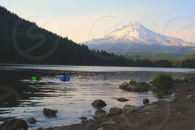A lake at the base of Mount Hood photo