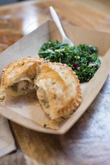double crust pie pies kale salad food market photo