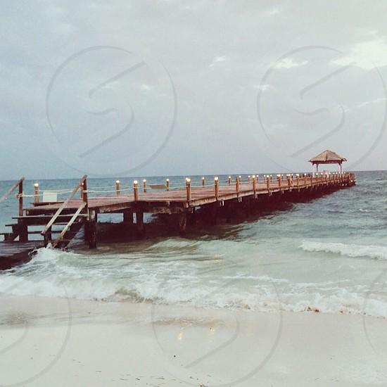 brown beach foot bridge panoramic view photo photo