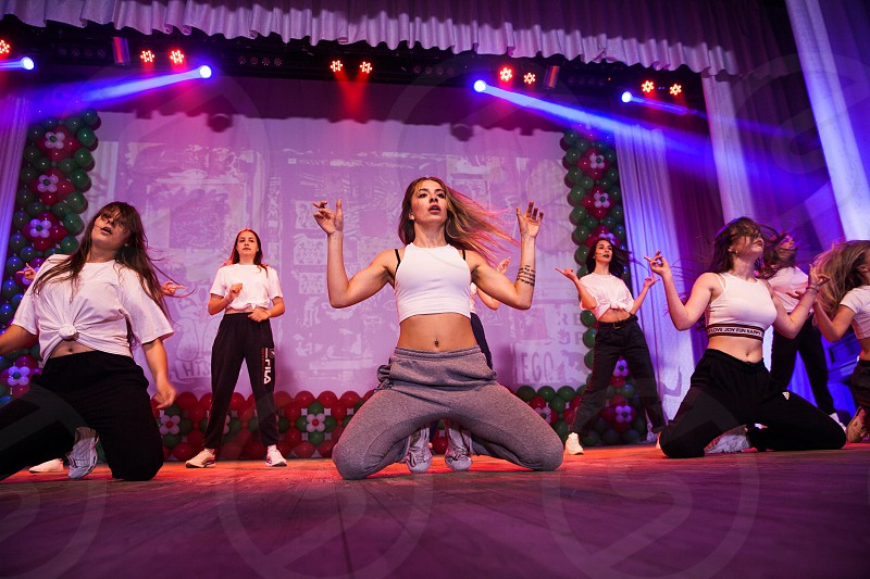 Dancer teen team stage dance battle lights group young girls show concert action  photo