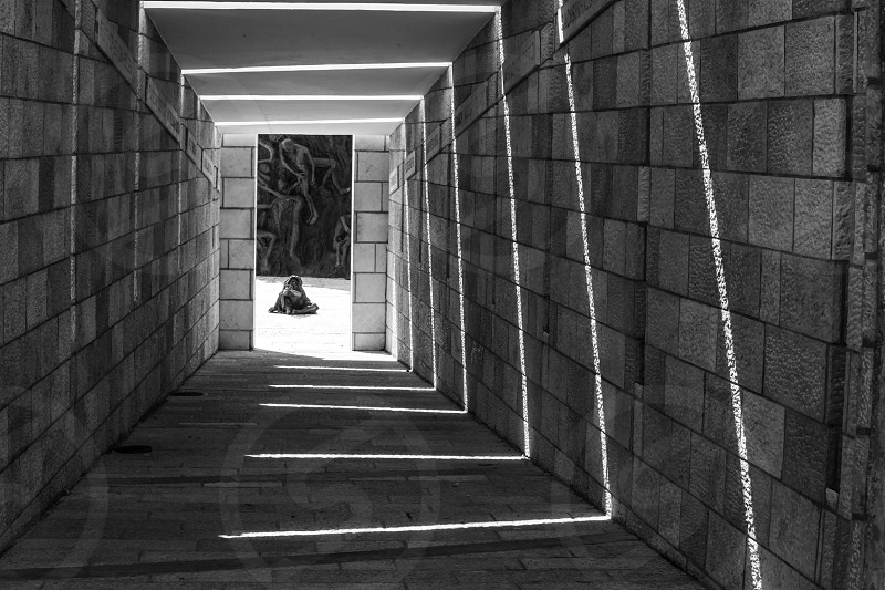 brown brick corridor photo