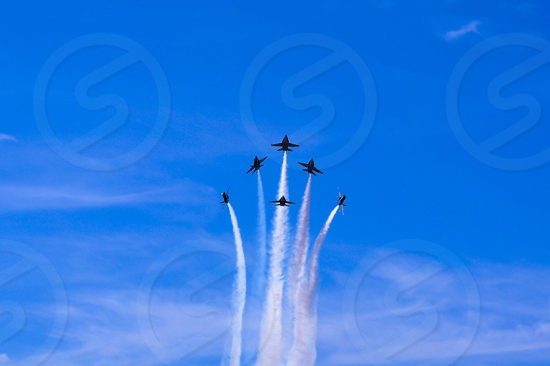 blue angels jets flying in formation photo