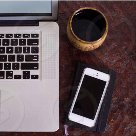 Coffee desk iphone journal organized neat modern  photo